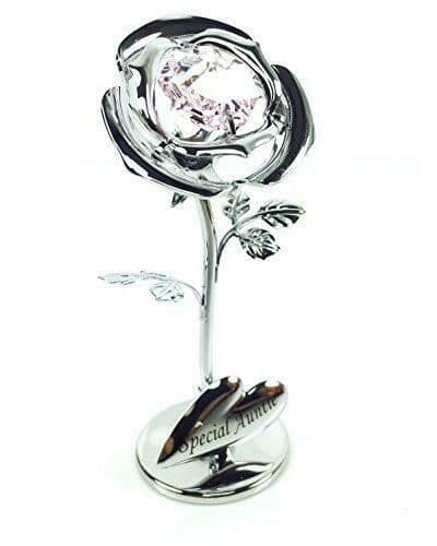CrystoCraft Special Auntie Chrome Plated Single Rose with Swarovski Crystals